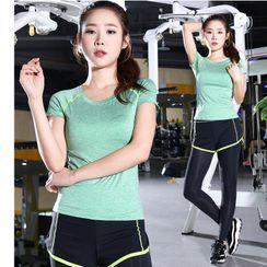 PAIYIGE - 运动套装: 短袖T裇 + 瑜伽裤