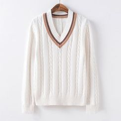 Candy House - Contrast-Trim Cable-Knit Sweater