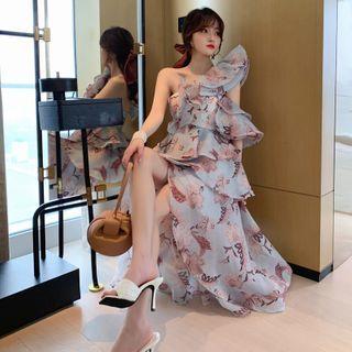 ZY·HT - Floral Single Shoulder A-Line Party Dress