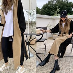 NANING9 - Drawstring Two-Tone Zip-Up Long Hoodie Dress