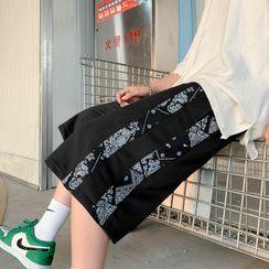 Oakjam - Paisley Print Panel Wide Leg Shorts