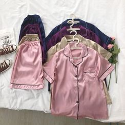 Guromo - Short-Sleeved Plain Loungewear