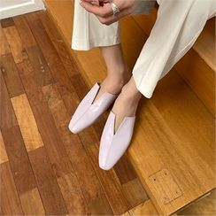 MONOBARBI - Cut-Out Pleather Slip-Ons