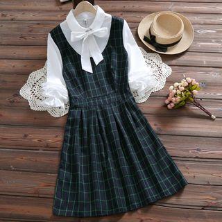Clover Dream - Mock Two-Piece Long-Sleeve Plaid Panel A-Line Dress