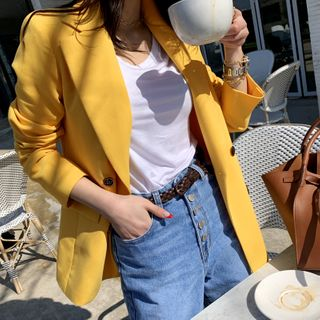 NANING9 - Double-Breasted Colored Blazer