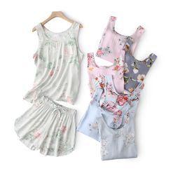 Miaowsha - Pajama Set: Floral Tank Top + Shorts