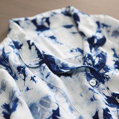 bleublack - Short-Sleeve Tie Dye Pajama Set