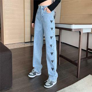 Guajillo - Heart Print Wide-Leg Jeans