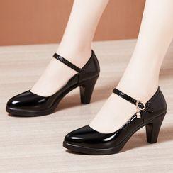 Hannah - 厚底粗跟玛莉珍鞋