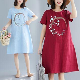Sienne - Printed Short-Sleeve A-Line Dress