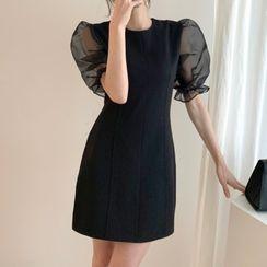 Baage - Puff-Sleeve Plain Dress