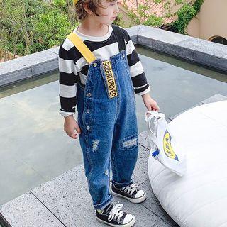 Pinty - Kids Lettering Distressed Denim Jumper Pants