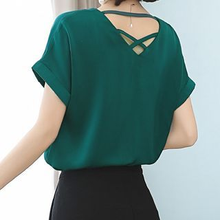 In the Mood - Short-Sleeve Cross-Back Chiffon Blouse