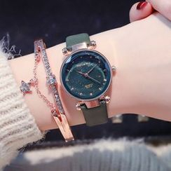 ONAJI - Set: Diamond-cut Faux Leather Strap Watch + Rhinestone Bracelet