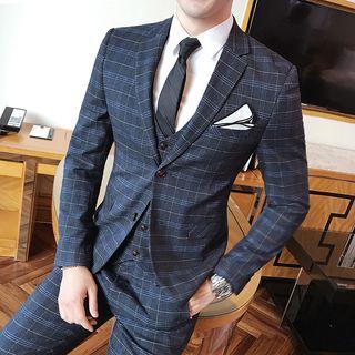 Besto - Set: Plaid Blazer + Vest + Dress Pants