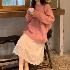 Warwhale - Lace Long-Sleeve Midi A-Line Dress / Sweater / Set