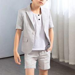 Snow Castle - Kids Set: Short-Sleeve Blazer + Shorts + Crew-Neck Short-Sleeve T-Shirt
