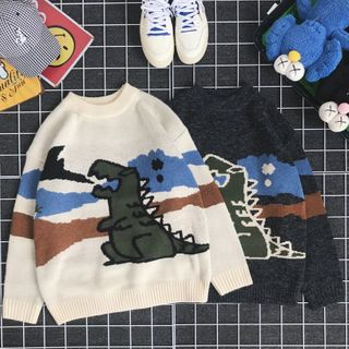 DuckleBeam - Printed Dinosaur Sweater