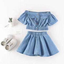 ZiG ZaG(ジグザグ) - Kids Set: Off-Shoulder Denim Top + A-Line Skirt