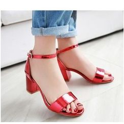 Freesia - Metallic Ankle Strap Chunky Heel Sandals