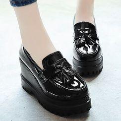 Garoque(ガロク) - Platform Wedge Loafers
