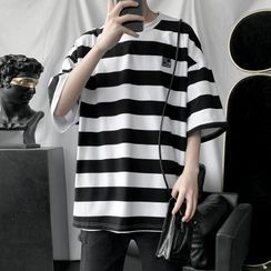 POSI - Striped Elbow-Sleeve T-Shirt