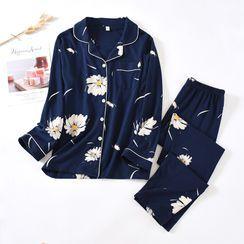 Dogini - Pajama Set: Flower Print Shirt + Lounge Pants