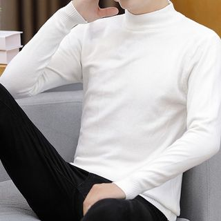 Hankatu - 純色長袖針織上衣