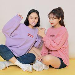HOTPING - Heart Embroidery Oversize Sweatshirt
