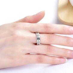 FOON - 925純銀印字及羅馬數字開口戒指
