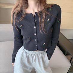 IKIO - Long-Sleeve Floral Embroidered Button-Up Knit Top