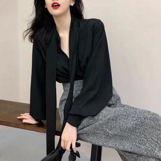Apotheosis - Set: Cutout Tie-Neck Blouse + Melange Dress Pants