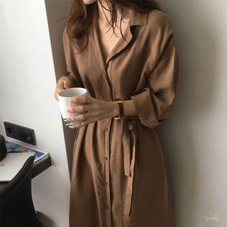TROBIZ - Long-Sleeve Sashed Midi A-Line Shirt Dress