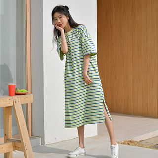 JUSTONE - Boxy Stripe Long T-Shirt Dress