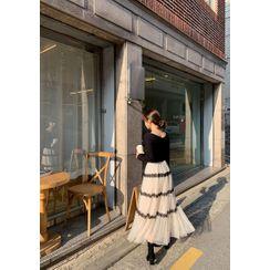 chuu - Crochet-Trim Mesh Long Tiered Skirt