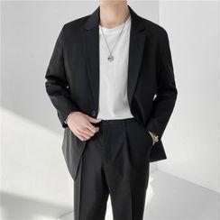 Hawoo - 套裝: 單扣西裝外套 + 西褲