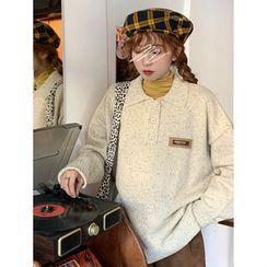 CosmoCorner(コスモコーナー) - Long-Sleeve Loose-Fit Knit Polo-Shirt