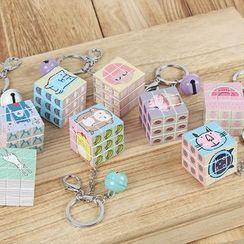 Coomui - 印花立方体及铃铛钥匙扣