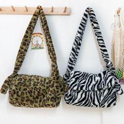 EAVALURE - Furry Zebra Print Crossbody Bag