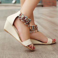 Megan - Embellished Wedge Ankle Strap Sandals