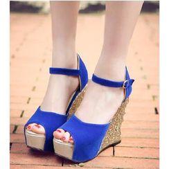 Freesia - Glitter Wedge Ankle Strap Sandals