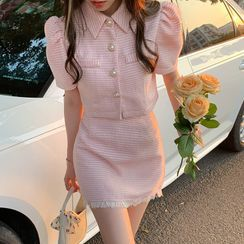 Flowerisque - Short-Sleeve Tweed Button-Up Jacket / Mini Skirt