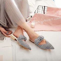 JY Shoes - Plaid Pointed Slide Flats