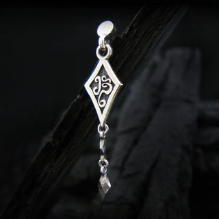 Sterlingworth - Engraved Sterling Silver Rhombus Earring (Single)