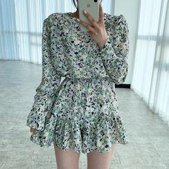Timfield - Long-Sleeve Floral Print Mini A-Line Dress