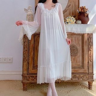 AKANYA - Bell-Sleeve Midi A-Line Sleep Dress