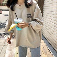 Thinmia(シンミア) - 3/4-Sleeve Printed T-Shirt