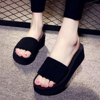 Meguro - Wedge-Heel Platform Slippers