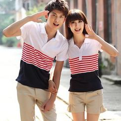 Eaglefox - Couple Matching Short-Sleeve Striped Panel Polo Shirt