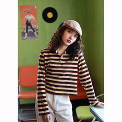 bijili - Long-Sleeve Striped Polo Shirt